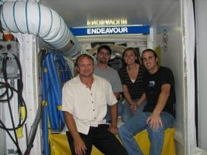 From Left: Raymond Bosek, PE; Seth Grablow, PE; Sabrina (admin) & Juan Pesante, PE. At Space Shuttle Orbiter OV-105 Endeavour white room access into crew compartment