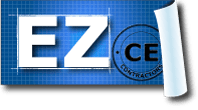 EZ-CE.com blueprint logo for contractor continuing education courses