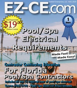 EZ-CE.com $19 Florida 1 hr pool/spa contractor continuing education course cover page